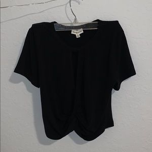 Black crop top with slit in front